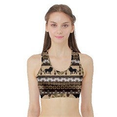 African Vector Patterns  Sports Bra With Border