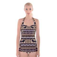 African Vector Patterns  Boyleg Halter Swimsuit
