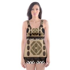 African Vector Patterns  Skater Dress Swimsuit