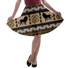 African Vector Patterns  A-line Skater Skirt