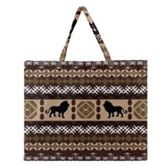 African Vector Patterns  Zipper Large Tote Bag