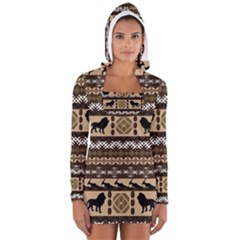 African Vector Patterns  Women s Long Sleeve Hooded T Shirt