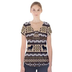 African Vector Patterns  Short Sleeve Front Detail Top
