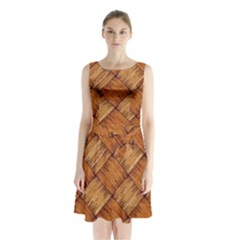 Vector Square Texture Pattern Sleeveless Chiffon Waist Tie Dress