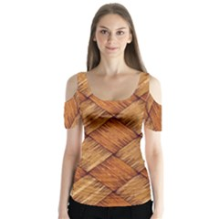 Vector Square Texture Pattern Butterfly Sleeve Cutout Tee