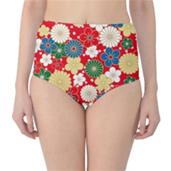 Season Flower Rose Sunflower Red Green Blue High-Waist Bikini Bottoms