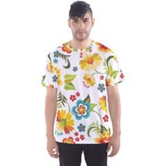 Flower Floral Rose Sunflower Leaf Color Men s Sport Mesh Tee