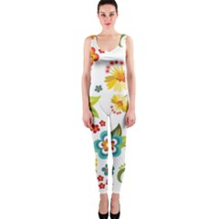 Flower Floral Rose Sunflower Leaf Color OnePiece Catsuit