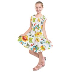 Flower Floral Rose Sunflower Leaf Color Kids  Short Sleeve Dress