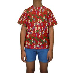 Red Flower Floral Tree Leaf Red Purple Green Gold Kids  Short Sleeve Swimwear