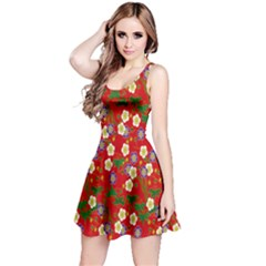 Red Flower Floral Tree Leaf Red Purple Green Gold Reversible Sleeveless Dress