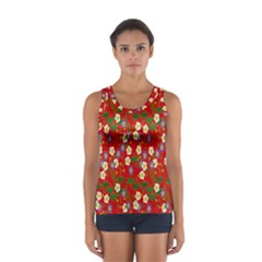 Red Flower Floral Tree Leaf Red Purple Green Gold Women s Sport Tank Top