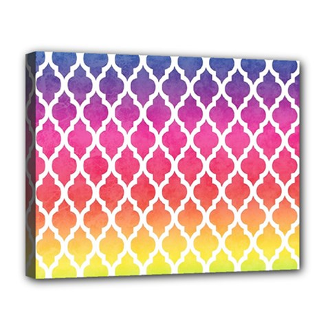 Colorful Rainbow Moroccan Pattern Canvas 14  x 11