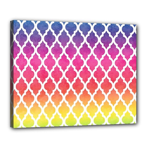 Colorful Rainbow Moroccan Pattern Canvas 20  X 16
