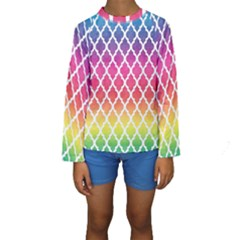 Colorful Rainbow Moroccan Pattern Kids  Long Sleeve Swimwear