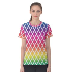 Colorful Rainbow Moroccan Pattern Women s Cotton Tee