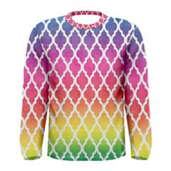 Colorful Rainbow Moroccan Pattern Men s Long Sleeve Tee