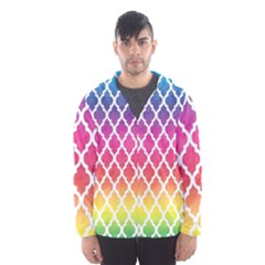 Colorful Rainbow Moroccan Pattern Hooded Wind Breaker (men)
