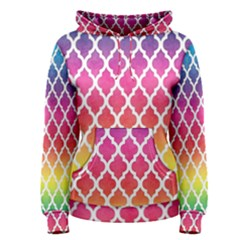Colorful Rainbow Moroccan Pattern Women s Pullover Hoodie