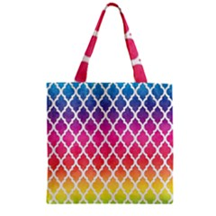 Colorful Rainbow Moroccan Pattern Zipper Grocery Tote Bag