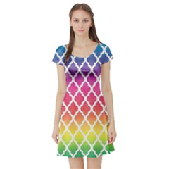 Colorful Rainbow Moroccan Pattern Short Sleeve Skater Dress