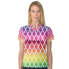 Colorful Rainbow Moroccan Pattern Women s V-Neck Sport Mesh Tee