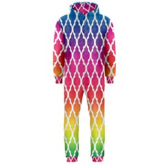 Colorful Rainbow Moroccan Pattern Hooded Jumpsuit (men)