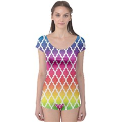 Colorful Rainbow Moroccan Pattern Boyleg Leotard