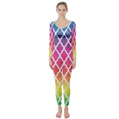 Colorful Rainbow Moroccan Pattern Long Sleeve Catsuit