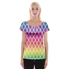 Colorful Rainbow Moroccan Pattern Women s Cap Sleeve Top