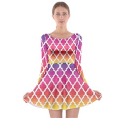 Colorful Rainbow Moroccan Pattern Long Sleeve Skater Dress