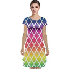 Colorful Rainbow Moroccan Pattern Cap Sleeve Nightdress