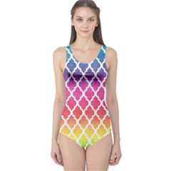 Colorful Rainbow Moroccan Pattern One Piece Swimsuit