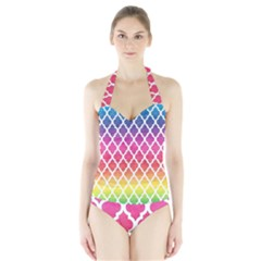 Colorful Rainbow Moroccan Pattern Halter Swimsuit