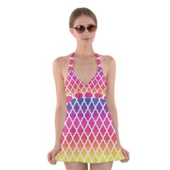 Colorful Rainbow Moroccan Pattern Halter Swimsuit Dress