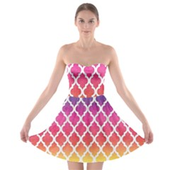 Colorful Rainbow Moroccan Pattern Strapless Bra Top Dress