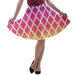Colorful Rainbow Moroccan Pattern A Line Skater Skirt
