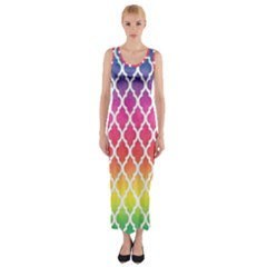 Colorful Rainbow Moroccan Pattern Fitted Maxi Dress