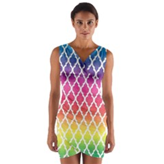 Colorful Rainbow Moroccan Pattern Wrap Front Bodycon Dress