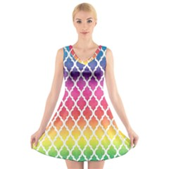 Colorful Rainbow Moroccan Pattern V-Neck Sleeveless Skater Dress