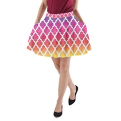 Colorful Rainbow Moroccan Pattern A-Line Pocket Skirt