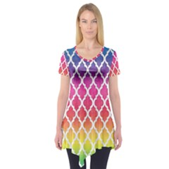 Colorful Rainbow Moroccan Pattern Short Sleeve Tunic