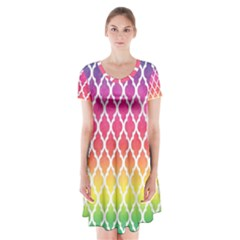 Colorful Rainbow Moroccan Pattern Short Sleeve V-neck Flare Dress