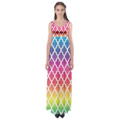 Colorful Rainbow Moroccan Pattern Empire Waist Maxi Dress