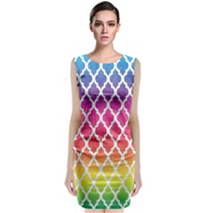 Colorful Rainbow Moroccan Pattern Classic Sleeveless Midi Dress