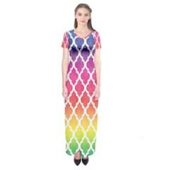 Colorful Rainbow Moroccan Pattern Short Sleeve Maxi Dress