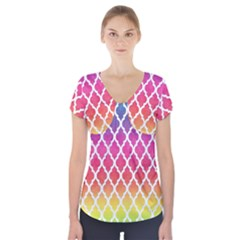 Colorful Rainbow Moroccan Pattern Short Sleeve Front Detail Top