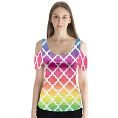 Colorful Rainbow Moroccan Pattern Butterfly Sleeve Cutout Tee
