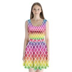 Colorful Rainbow Moroccan Pattern Split Back Mini Dress