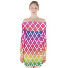Colorful Rainbow Moroccan Pattern Long Sleeve Off Shoulder Dress